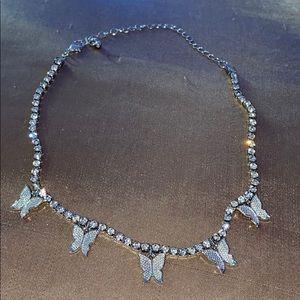 Silver butterfly rhinestone choker